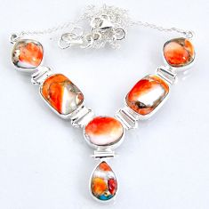 29.81cts spiny oyster arizona turquoise 925 sterling silver necklace r56075