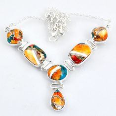 30.46cts spiny oyster arizona turquoise 925 sterling silver necklace r56077
