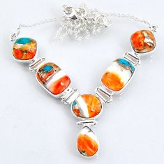 30.44cts spiny oyster arizona turquoise 925 sterling silver necklace r56078