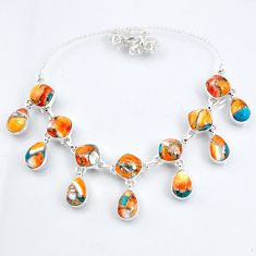 67.31cts spiny oyster arizona turquoise 925 sterling silver necklace r56101