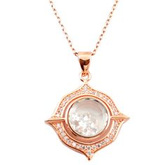 White cubic zirconia 925 silver 14k rose gold moving stone necklace c22273
