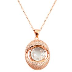 White cubic zirconia 925 silver 14k rose gold moving stone necklace c22279