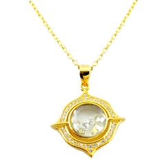 White cubic zirconia topaz 925 silver 14k gold moving stone necklace c22270