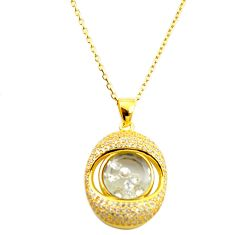 White cubic zirconia topaz 925 silver 14k gold moving stone necklace c22274