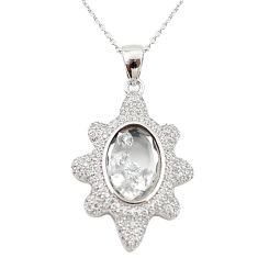 White cubic zirconia topaz 925 silver moving stone necklace jewelry c22276
