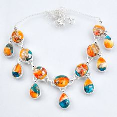 67.65cts white spiny oyster arizona turquoise 925 silver necklace r56103