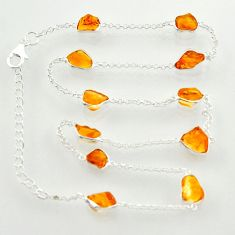 25.19cts yellow citrine rough 925 sterling silver chain necklace jewelry r31502