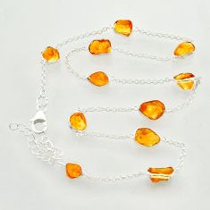 25.83cts yellow citrine rough 925 sterling silver chain necklace jewelry r31503