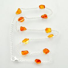 25.83cts yellow citrine rough 925 sterling silver chain necklace jewelry r31505