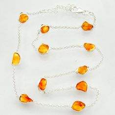 24.49cts yellow citrine rough 925 sterling silver chain necklace r31501