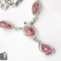 38.17cts LUXURIOUS PINK KUNZITE 925 STERLING SILVER NECKLACE JEWELRY G16886