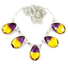 Multi color ametrine (lab) pear shape 925 sterling silver necklace jewelry j2372