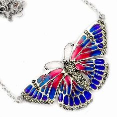 MULTI COLOR ENAMEL MARCASITE 925 STERLING SILVER BUTTERFLY CHAIN NECKLACE H20763