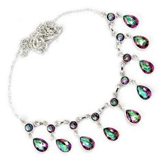 Multi color rainbow topaz 925 sterling silver necklace jewelry h69301