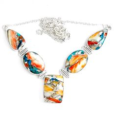 72.49cts multi color spiny oyster arizona turquoise 925 silver necklace p47426