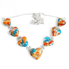 95.79cts multi color spiny oyster arizona turquoise 925 silver necklace p47428