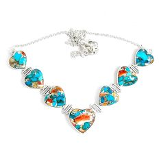 85.46cts multi color spiny oyster arizona turquoise 925 silver necklace p47430