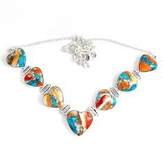 89.00cts multi color spiny oyster arizona turquoise 925 silver necklace p47431