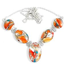 70.73cts multi color spiny oyster arizona turquoise 925 silver necklace p47432