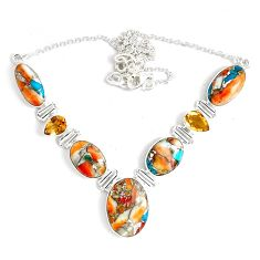 55.08cts multi color spiny oyster arizona turquoise 925 silver necklace p47434