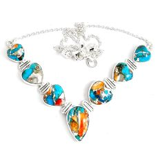 68.77cts multi color spiny oyster arizona turquoise 925 silver necklace p47435