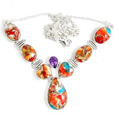 69.90cts multi color spiny oyster arizona turquoise 925 silver necklace p47436