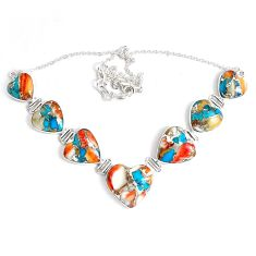 106.41cts multi color spiny oyster arizona turquoise 925 silver necklace p47437