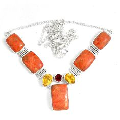 60.48cts multicolor copper turquoise citrine 925 sterling silver necklace p47440