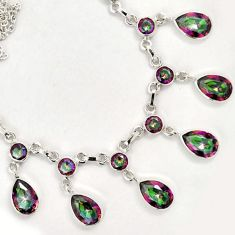 45.15cts MULTICOLOR RAINBOW TOPAZ 925 STERLING SILVER NECKLACE JEWELRY F60707
