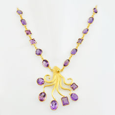 65.51cts natural amethyst 925 sterling silver 14k gold necklace jewelry p74948