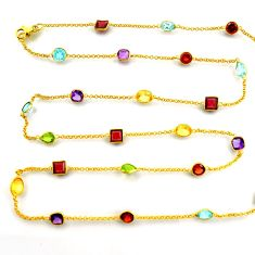 36.04cts natural amethyst garnet 925 silver gold 35inch chain necklace p91664