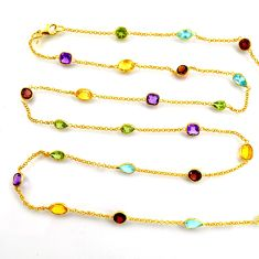 33.66cts natural amethyst garnet silver 14k gold 35inch chain necklace p91668