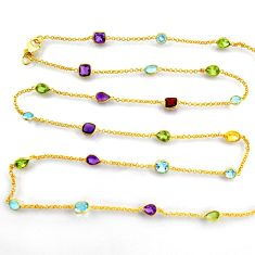 31.53cts natural amethyst garnet silver gold 34inch chain necklace p91679