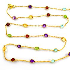 33.68cts natural amethyst garnet silver gold 35inch chain necklace p91673