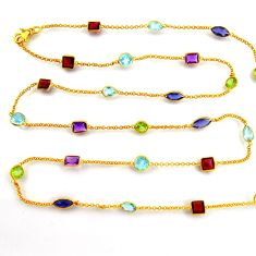 36.09cts natural amethyst iolite topaz silver gold 35inch chain necklace p91674