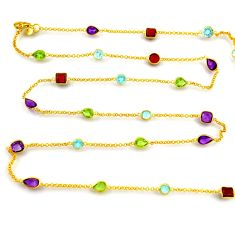 31.50cts natural amethyst peridot silver 14k gold 35inch chain necklace p91667