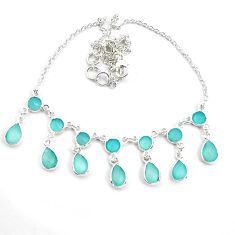 22.59cts natural aqua chalcedony 925 sterling silver necklace jewelry p44534