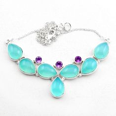 49.40cts natural aqua chalcedony amethyst 925 sterling silver necklace p88621