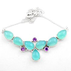 50.23cts natural aqua chalcedony amethyst 925 sterling silver necklace p88622