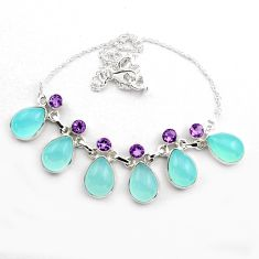 38.93cts natural aqua chalcedony amethyst 925 sterling silver necklace p88624