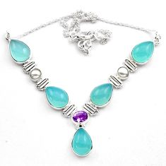 37.41cts natural aqua chalcedony amethyst 925 sterling silver necklace p88625