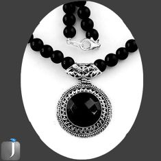 133.70cts NATURAL BLACK ONYX 925 SILVER BEADS PENDANT NECKLACE JEWELRY E88906