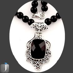126.10cts NATURAL BLACK ONYX 925 SILVER PENDANT BEADS NECKLACE JEWELRY E84911