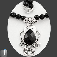 122.75cts NATURAL BLACK ONYX 925 SILVER PENDANT BEADS NECKLACE JEWELRY E84916