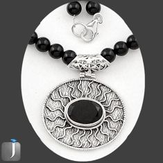 125.17cts NATURAL BLACK ONYX 925 STERLING SILVER BEADS NECKLACE PENDANT E40866