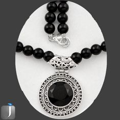 122.85cts NATURAL BLACK ONYX 925 STERLING SILVER BEADS NECKLACE PENDANT E40872