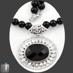129.89cts NATURAL BLACK ONYX 925 STERLING SILVER BEADS NECKLACE PENDANT E40875