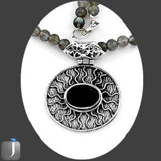 131.75cts NATURAL BLACK ONYX 925 STERLING SILVER BEADS NECKLACE PENDANT E92908