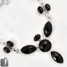 39.31cts NATURAL BLACK ONYX 925 STERLING SILVER CROSS NECKLACE JEWELRY F60742