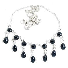 26.47cts natural black onyx pear 925 sterling silver necklace jewelry p40505